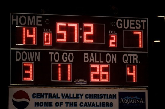 Visalia Central Valley Christian Cavalier Football Score Board