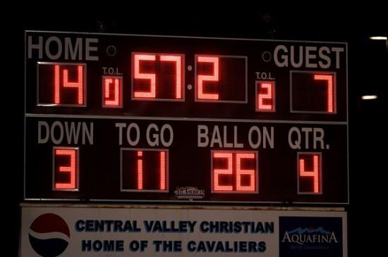 Visalia Central Valley Christian Cavalier Football Score Board